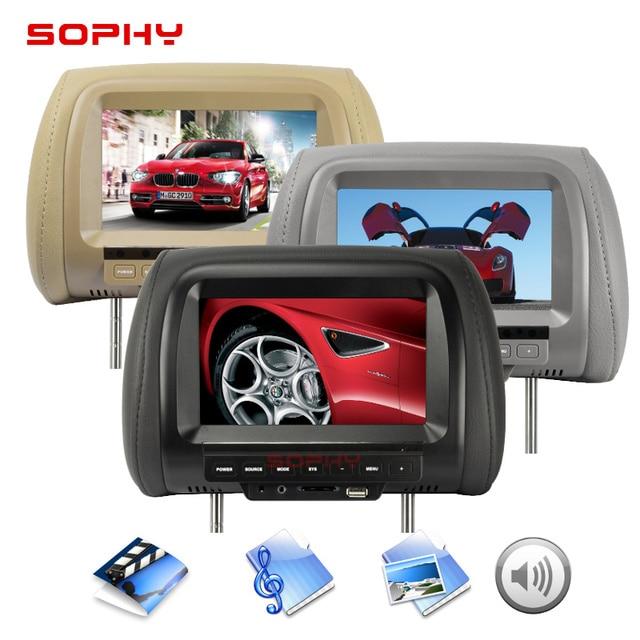 7 inch TFT LED Screen Video Player Universal Car Headrest Monitor Beige/Gray/Black  AV USB SD MP5 FM Built-in Speaker SH7038-MP5