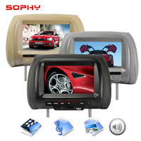 7 inch TFT LED Screen Video Player Universal Car Headrest Monitor Beige/Gray/Black AV USB SD MP5 FM Built in Speaker SH7038 MP5