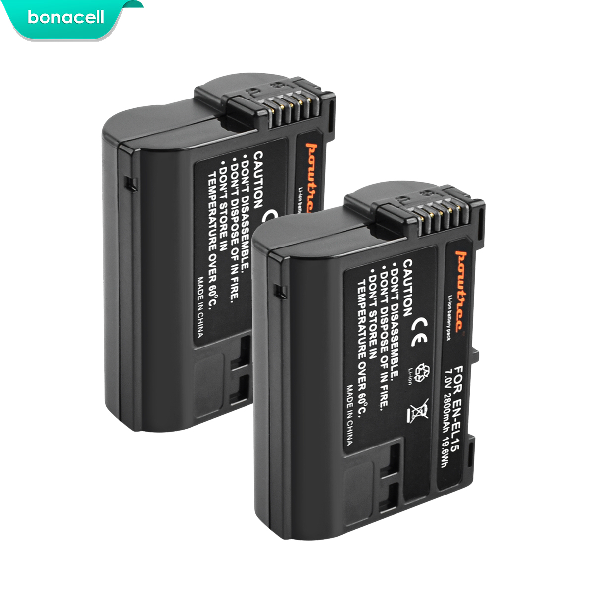 Bonacell Camera Battery D610 EN-EL15 Nikon D810 D7200 DSLR D600 2800mah for D800 D800e/D810/D7000/..