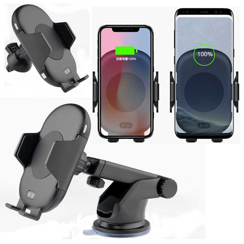 Infrared Sensor Automatic Car Wireless Charger For iphone X 8 Plus For Samsung S8 S9 Note 9 8 QI Fast Charge Sucker Phone Moun