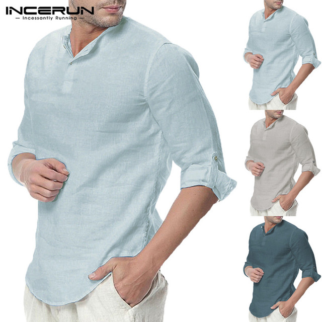 2cfcb2fe173 Men Casual Shirts Long Sleeve Henley Collar V Neck Basic Plain Loose Camisa  Hombre Plain Tee Beach Vacation Tops Plus Size 5XL-in Casual Shirts from  Men s ...