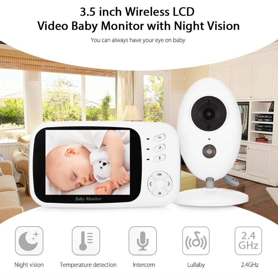 XF808 LCD Display Screen Audio Baby Monitor Wireless Digital Video Kids Temperature Sensor Baby Sleeping Monitor Night Vision