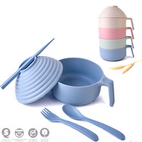 5pcs Green Tableware Home Wheat Straw Portable Bubble Bowl Set Adult Children Dinnerware Plate Dishes Bowl Tableware Soup Bowls