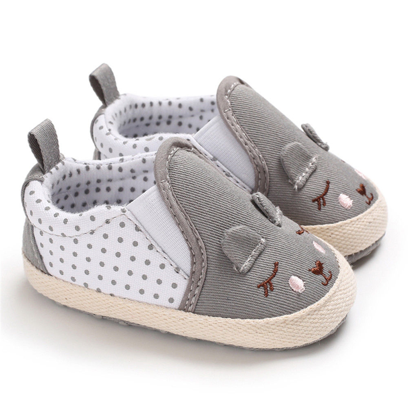 Baby Girl Shoes Princess Polka Dot With Animal Pattern Soft Cotton Toddler Crib Infant Little Kid Sole Anti-slip Baby Crib Shoes