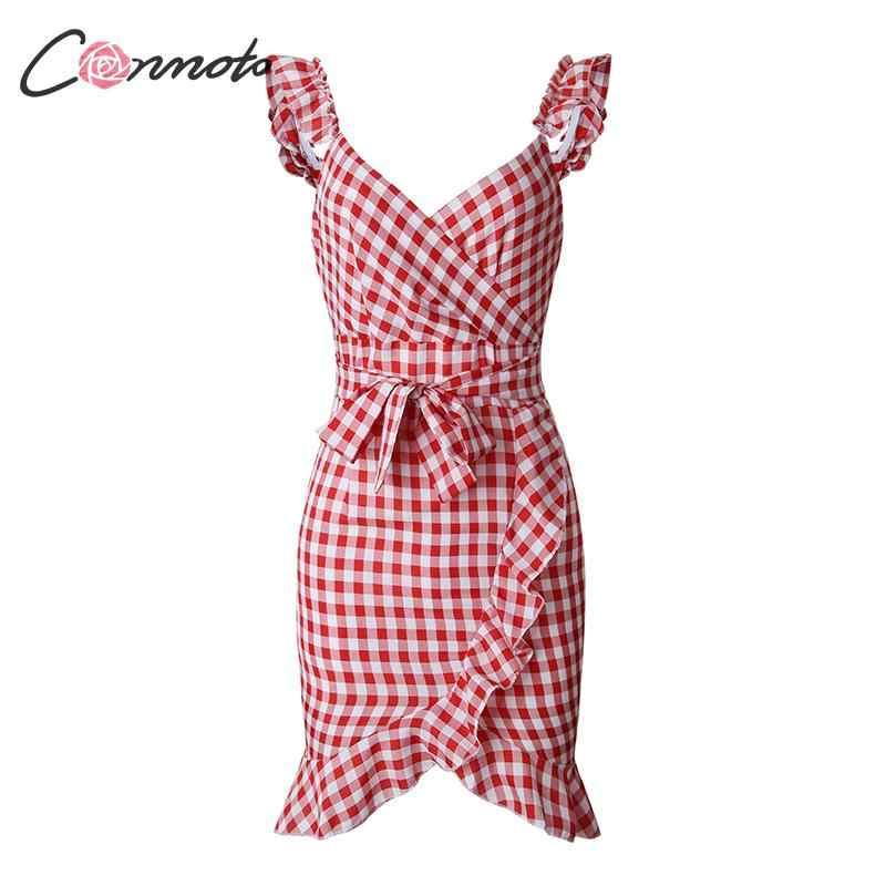 Conmoto Модное клетчатое короткое платье с поясом, летнее платье с высокой талией, платье с воланами, винтажное повседневное платье, праздничное платье, лето 2019