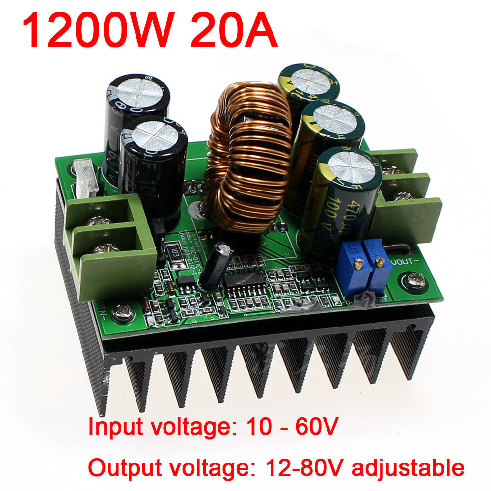 1200W DC-DC Converter 12V-60V 12V 36V to 12V-80V 20A 24V 48V 72V Step-up Power