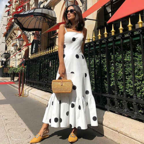 2019 femmes filles blanc Spaghetti sangle Sexy Boho longue Maxi Dot robe taille haute dames tenue de club soirée plage robe de soleil
