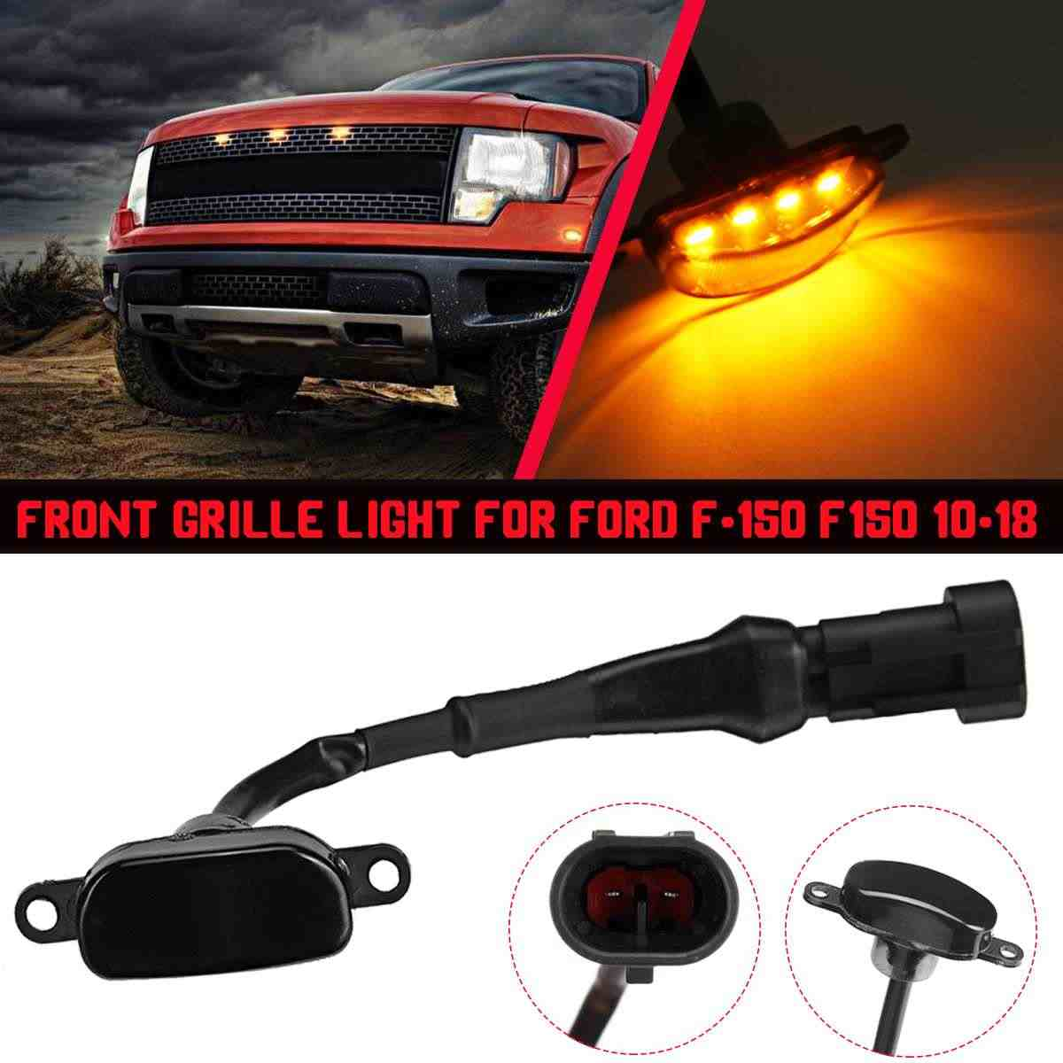 Car LED Front Grill Light Raptor Style Smoke Amber Grille Lamps For Ford F-150 F150 2010-2018