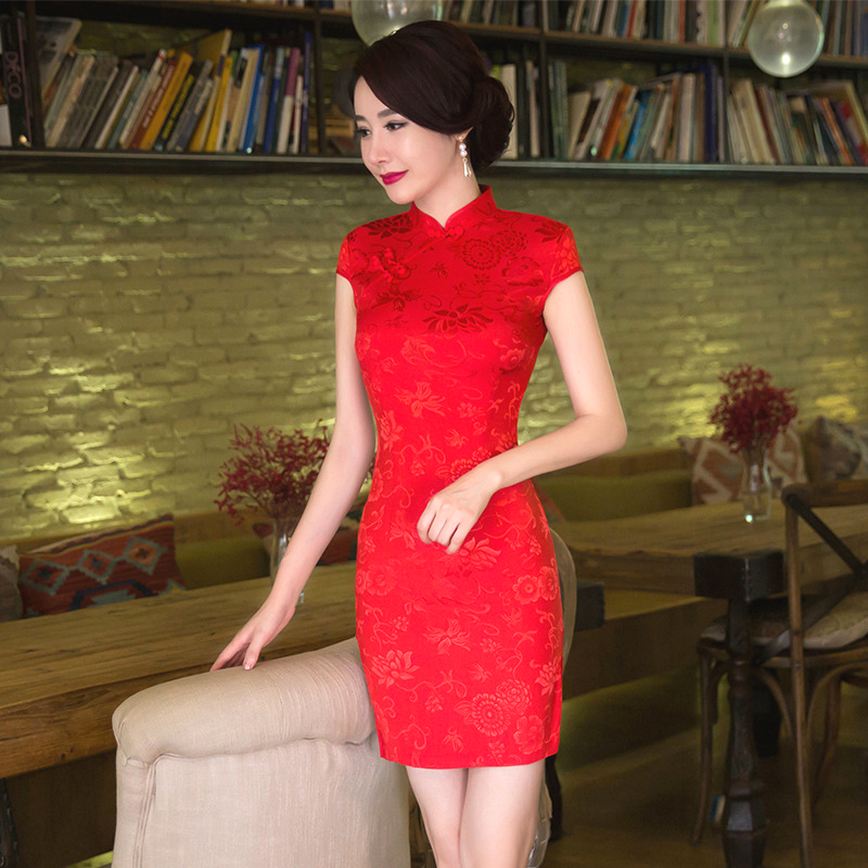 SHENG COCO Women's Red Chinese Traditional Dresses Thin Short Jacquard Cotton Cheongsam Chinese Style Ma'am Marry Qipao Chinese