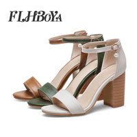 New Fashion 2019 Sexy Women Pumps Open Toe Square Heels Woman PU sandals buckle Classic sandals elegant ladies office shoes