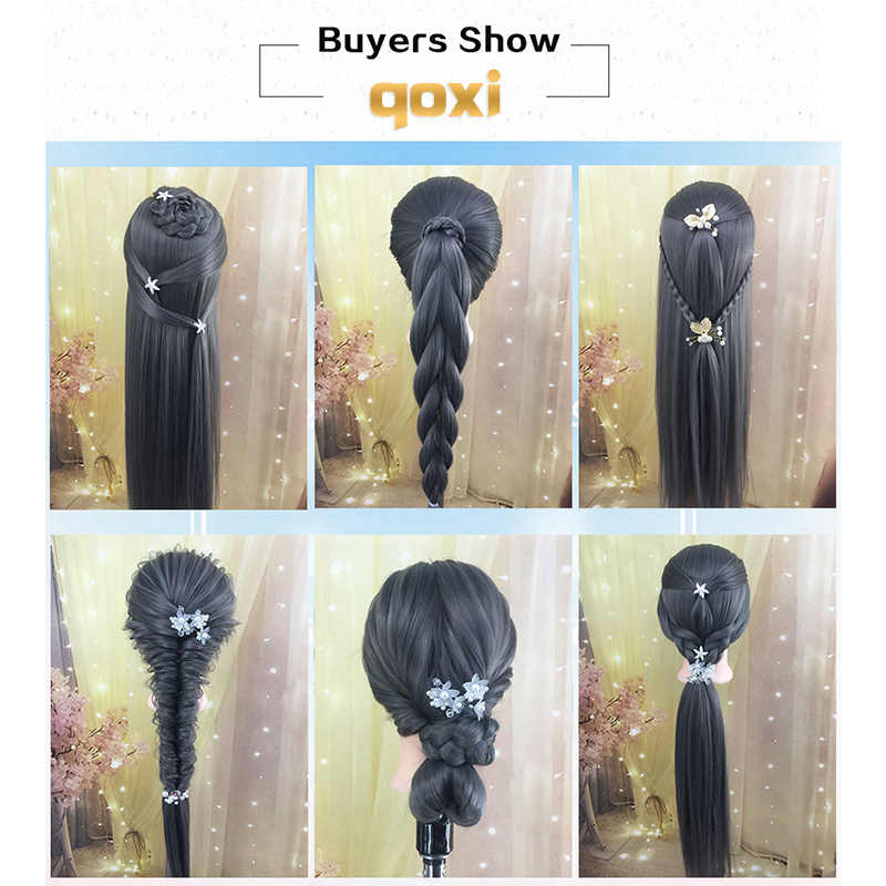 Qoxi cabeças com cabelos longos e grossos de formação Profissional prática de Cabeleireiro bonecas manequim maniqui cabelo Styling tete para venda