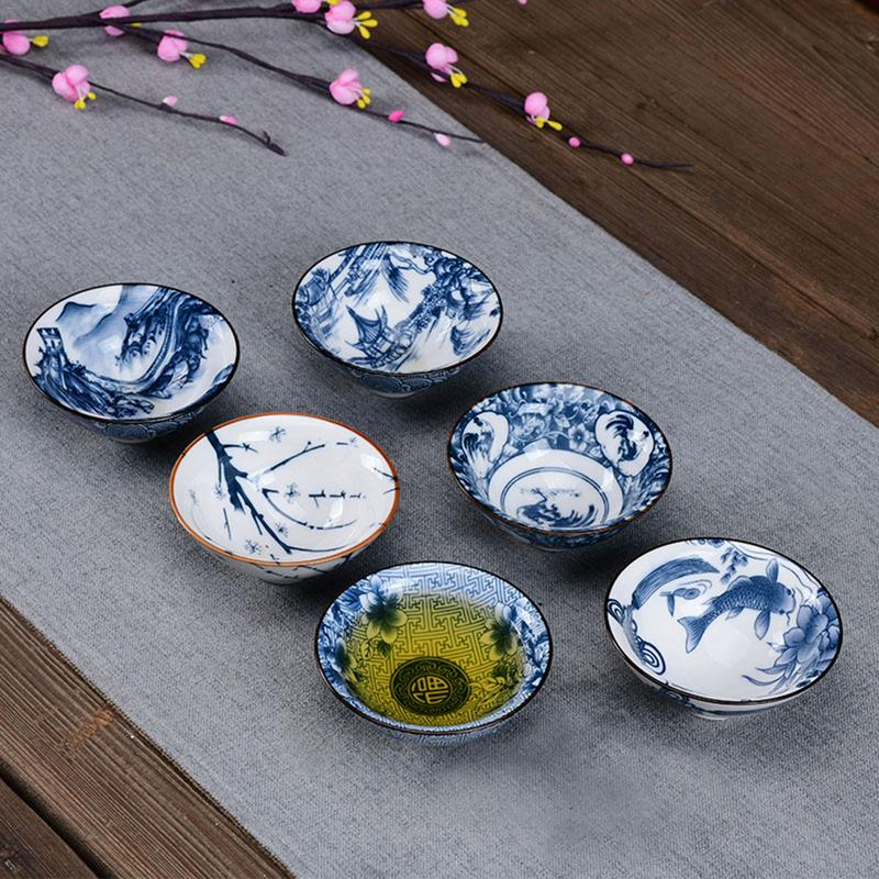 Drinkware Chinese Kung Fu Tea Set Teacup cups Handpainted Blue and white Ceramic Porcelain for puer Oolong Tea