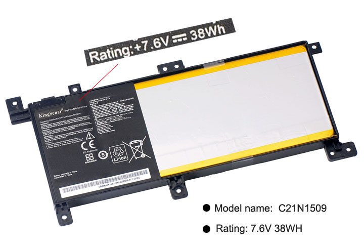 KingSener nuevo C21N1509 batería del ordenador portátil para ASUS Notebook X556UA X556UB X556UF X556UJ X556UQ X556UR X556UV A556U FL5900U - 2