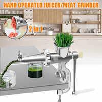 2 em 1 Manuais Espremedor Manual De Suco Espremedor De Alimentos Moedor de Carne Doméstico Carne Fruta Vegetal Imprensa Extractor Wheatgrass