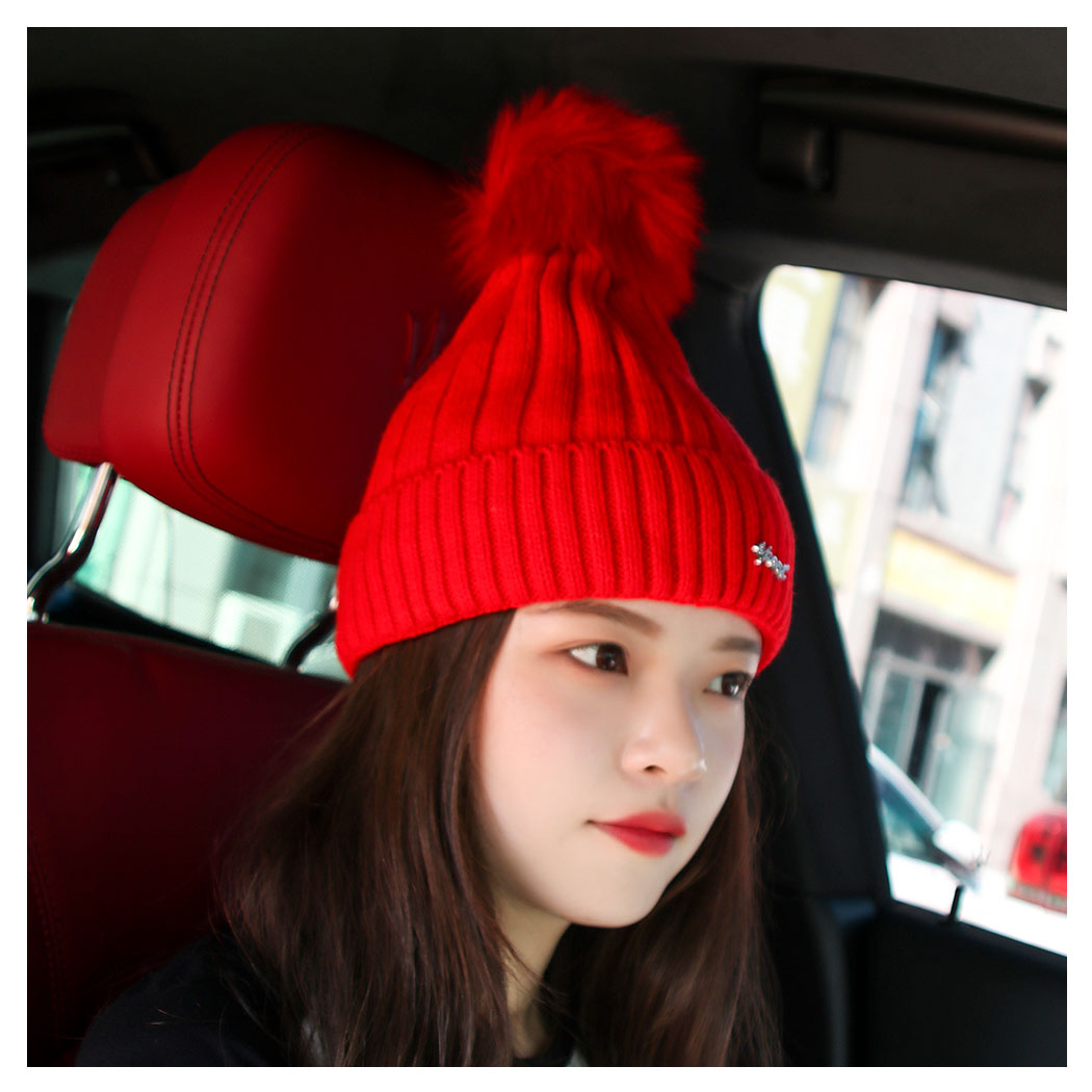 783535e4843 Fashion Pom Pom Winter Hat Women Knitted Beanies Caps Thick Warm Skullies  Beanies Women Thick Female