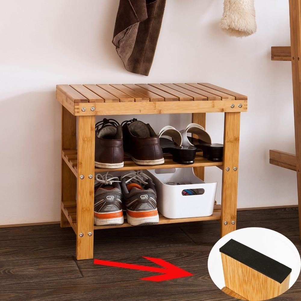 SoBuy FSR02-K-N bambou étagère à chaussures banc salle de bain étagère couloir de rangement