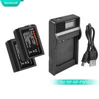 Bonacell 2000 мАч NP-FW50 NP FW50 Батарея + ЖК-дисплей Зарядное устройство Акку для Sony NEX-7 NEX-5N NEX-5R NEX-F3 NEX-3D Alpha a5000 a6000 L10