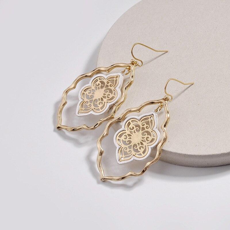 Hollow Flower Metal Alloy Charms Earrings Gold Hook Fashion Brand Women Jewelry Dangle Earrings
