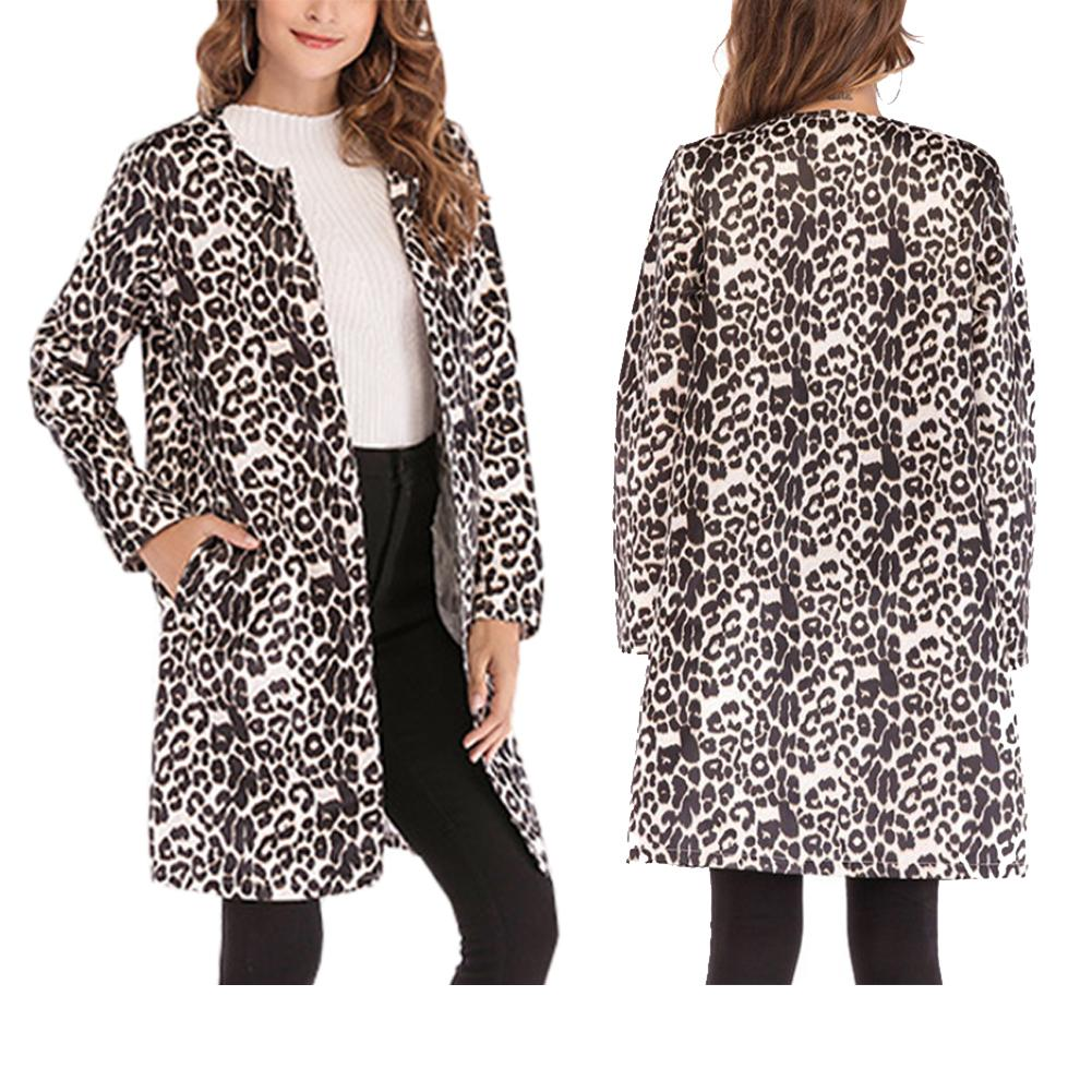 Leopard Print Sexy   Trench   Coat for Women - Fashion Casual Long Coat