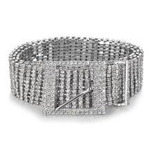 f81431a2604d6 المرأة لامعة حزام الخصر سلسلة الكريستال الماس زنار كامل حجر الراين الفاخرة  واسعة حزب حزام زنار لفستان