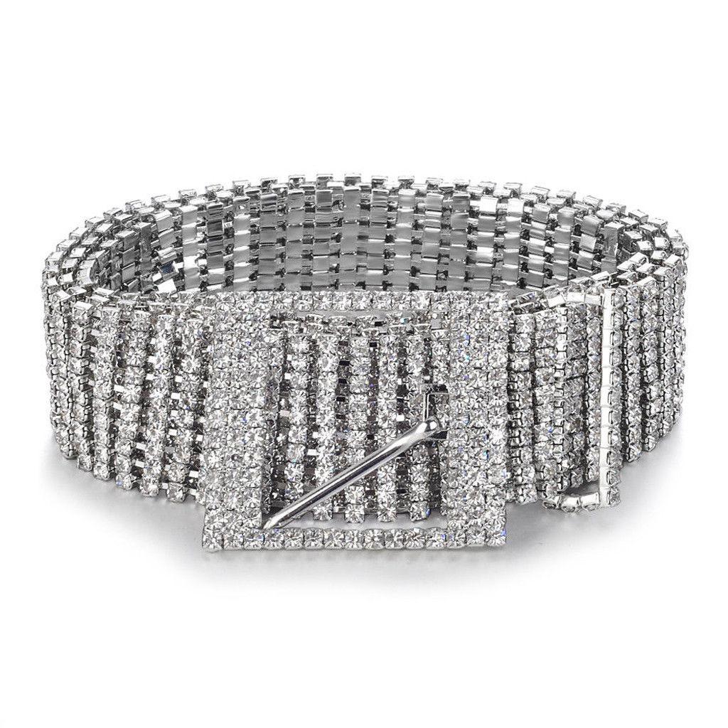 Women Shiny   Belt   Waist Chain Crystal Diamond Waistband Full Rhinestone Luxury Wide Party   Belt   Waistband For Dress