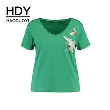 HDY HAODUOYI  2019 Plus Size Women Clothing Casual Pretty Embroidery Short Sleeve T Shirt Brief V Neck Tops 3XL 4XL 5XL 6XL