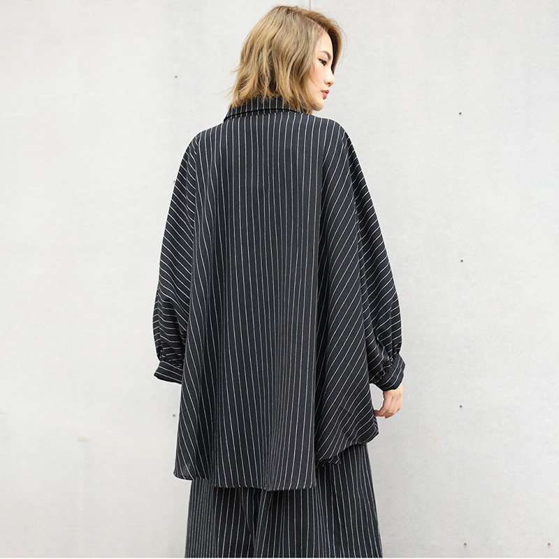 LANMREM 2019 New Spring Fashion Striped Patchwork Batwing Sleeve Irregular Shirt And Loose Wide Leg Pants Two Pieces Set SA95501