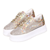SWYIVY Sneakers For Women 2019 Crystal Mesh Breathable Summer Shoes For Woman Casual Golden Sneakers Breathable Wedge Flatform 4