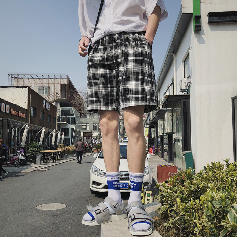 Clothing Shorts Outer-Wear Men's Straight Casual Summer New Youth Retro Loose Plaid Wild