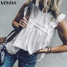 2019 VONDA Women Summer Tunic Blouse Sleeveless Tops Lace Hollow Tanks Butterfly Sleeve Tassel Sexy Blusa Casual Shirt Plus Size