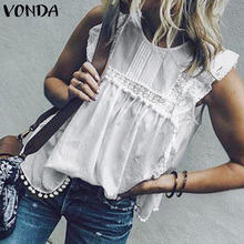 2019 VONDA Women Summer Tunic Blouse Sleeveless Tops Lace Hollow Tanks Butterfly Sleeve Tassel Sexy Blusa Casual Shirt Plus Size