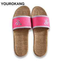 YOUROKANG Couple Shoes Summer Home Slippers Antiskid Hard-Wearing Anti-Odor Indoor Women & Men Flax Sweat-Absorbant