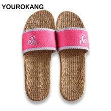 YOUROKANG Couple Shoes Summer Home Slippers Antiskid Hard-Wearing Anti-Odor Indoor Women & Men Flax Slippers Sweat-Absorbant недорого
