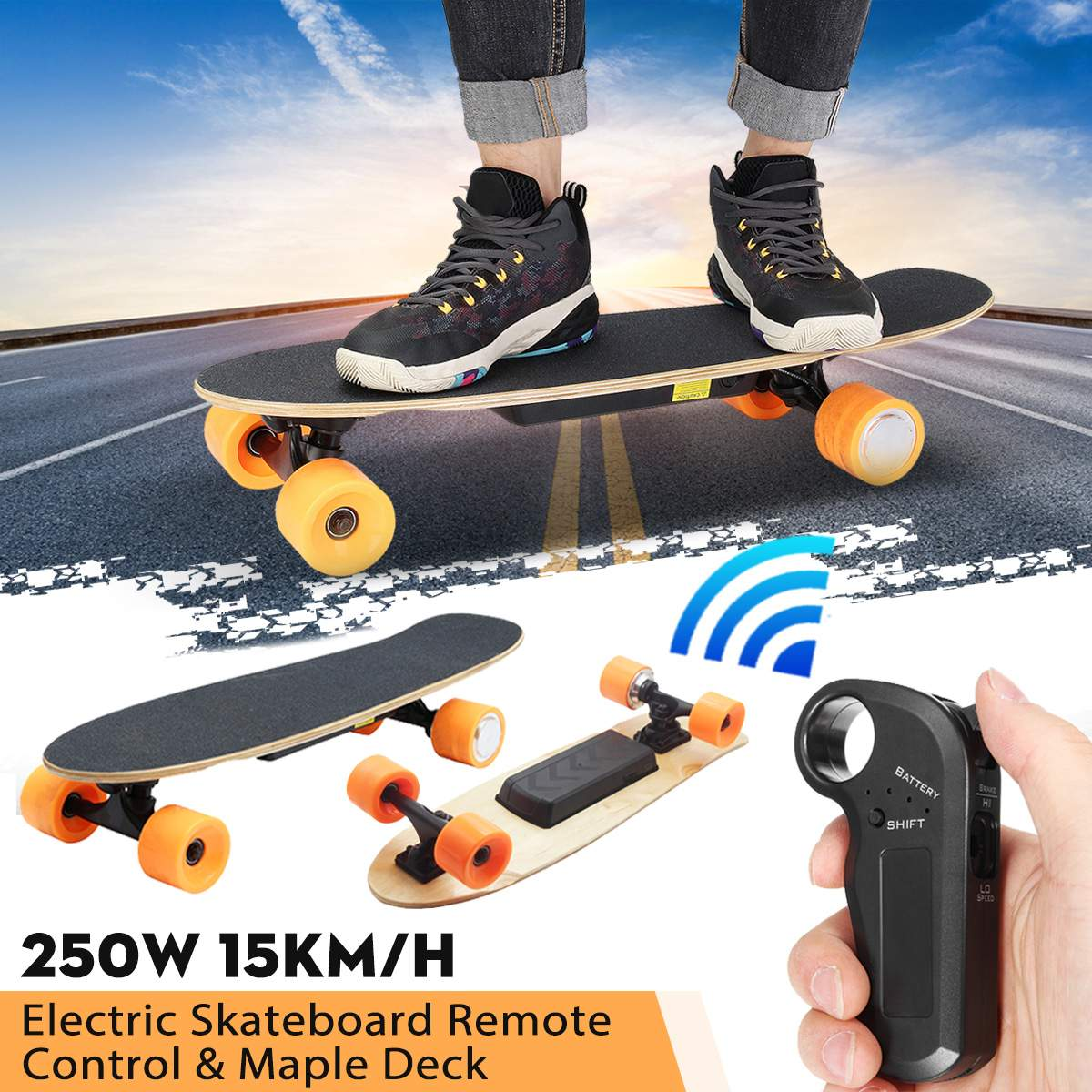 Electric Skateboard Four-wheel Longboard Skate Board Maple Deck Wireless  Remote Controll Skateboard Wheels For ac0a0981bdf14