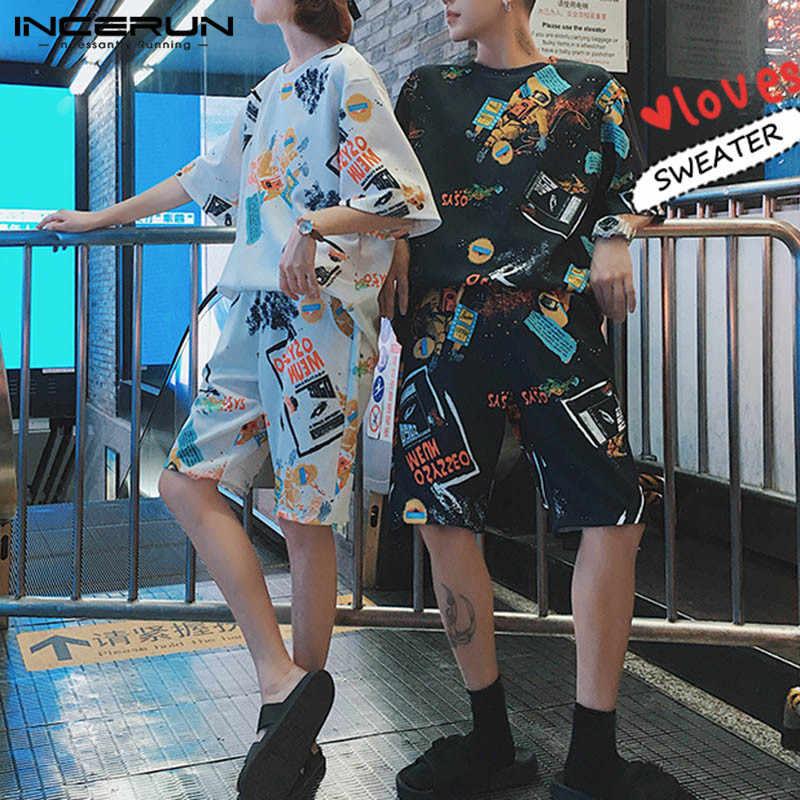 2019 модные Для мужчин s набор мужской толстовка шорты по колено футболки короткий рукав спортивная Hombre танец хип-хоп Для мужчин одежда мешковатые