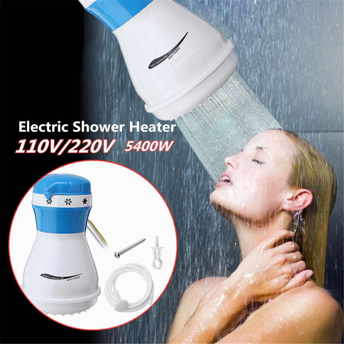 5400W 110V/220V Electric Shower Heater Instant Hot Faucet Bathroom Water Heating Instantaneous Water Heater image