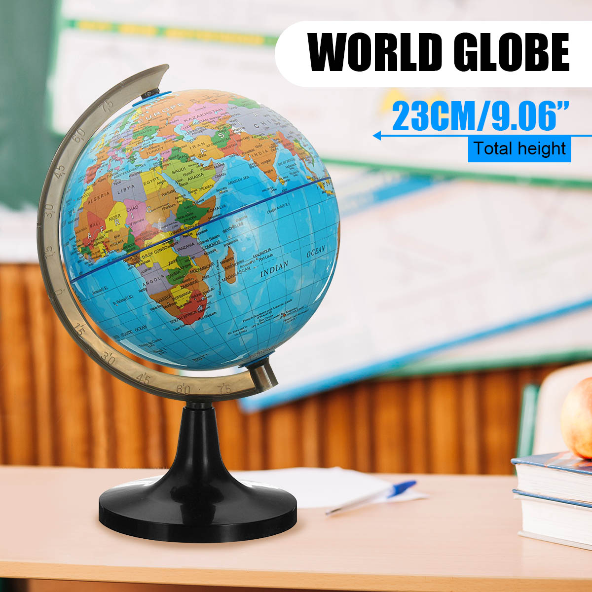 14cm Globe World Earth Tellurion Terrestre Globe World Map With Stand Geography Educational Toy Home Office Ornament Kids Gift image