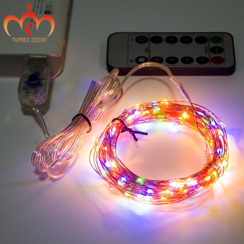 USB RGYB 8 modeli migotania ze zdalnym 10m diodą LED z miedzi - Oświetlenie wakacje - Zdjęcie 2