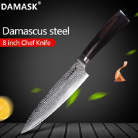 Damask Damascus Knife 8 Inch Chef Knife Color Wood Handle 73 Layer VG10 Japanese Damascus Steel Kitchen Knives Cutting Accessory