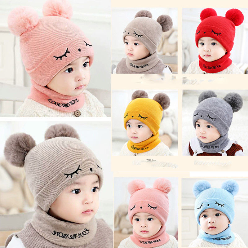 Cute Eyelash Caps For Newborn Kids Baby Boy Girl Pom Hat Winter Warm Knit Bobble Beanie Cap Scarf Set