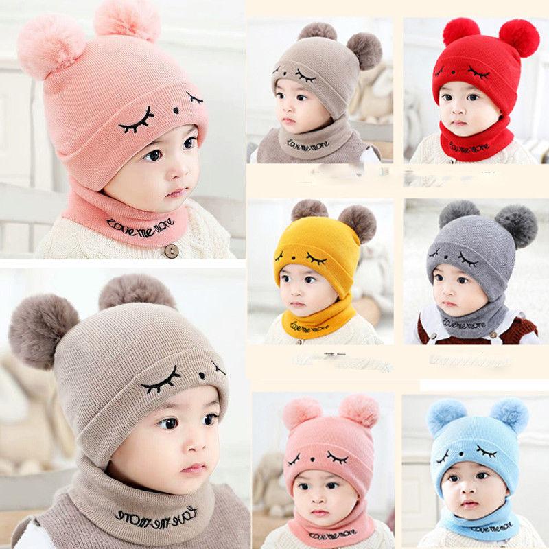 Cute Eyelash Caps For Newborn Kids Baby Boy Girl Pom Hat Winter Warm Knit Bobble Beanie Cap Scarf Set