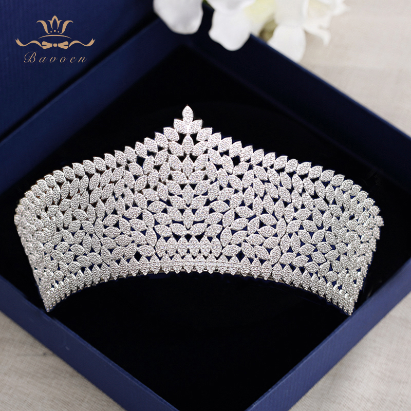 цена Bavoen Top Quality Royal Queen Brides Tiaras Crowns Headpieces Oversize Silver Bridal Hairbands Wedding Hair Accessories Gift
