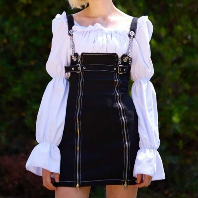 555204428d85 Women Denim Mini Overalls Skirts Dungaree Casual Suspender Skirt Chain  Zipper Strap Ladies Skirt Streetwear Punk