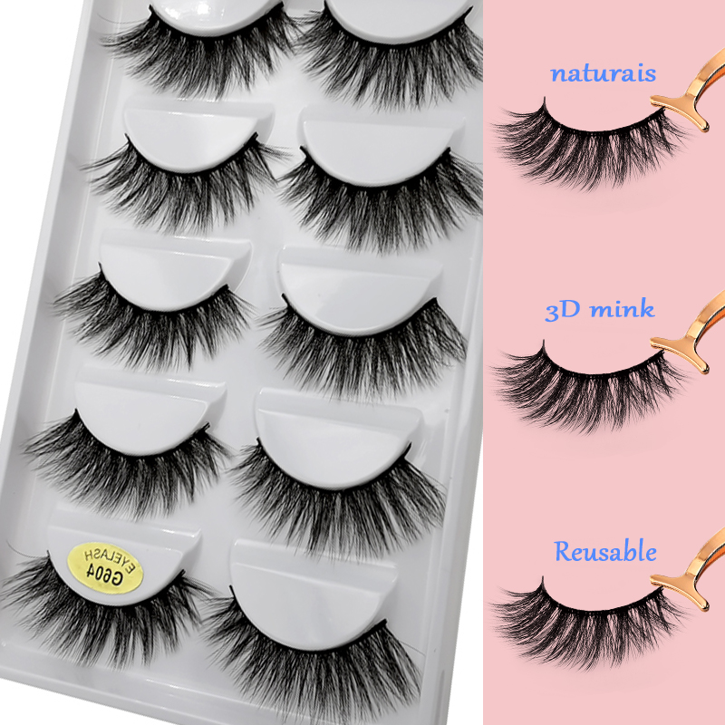 Mink Eyelashes Natural 13mm Full Strip False Eyelashes 5 Paris False Lashes Crisscross G604 Dramatic Tapered 3D Mink Hair Lashes in False Eyelashes from Beauty Health