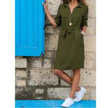 Women's Summer Half Sleeve Dress Casual Party Solid Color Beach Dress Button Pocket Top Women's Dress Retro Party Dresses
