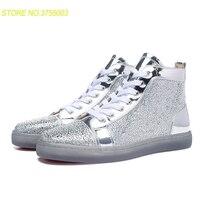 Спортивная обувь с высоким берцем; Цвет Серебристый; обувь из специального материала; модные вечерние туфли с красной подошвой; кроссовки; к