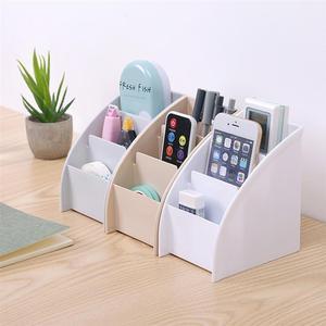 Image 1 - Three Lattices Storage Box Simple Plastic Cosmetic Box Trapezoidal Desktop Finishing Box for Bedroom Study Room Living Room