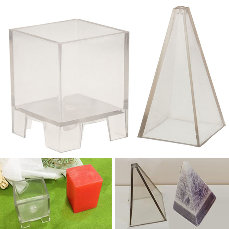 Clear Candle Mold Soap Mold Crafts Decoration Tools Candle Making Moulds DIY Candle Craft Tools Pyramid/Square Cube Shape