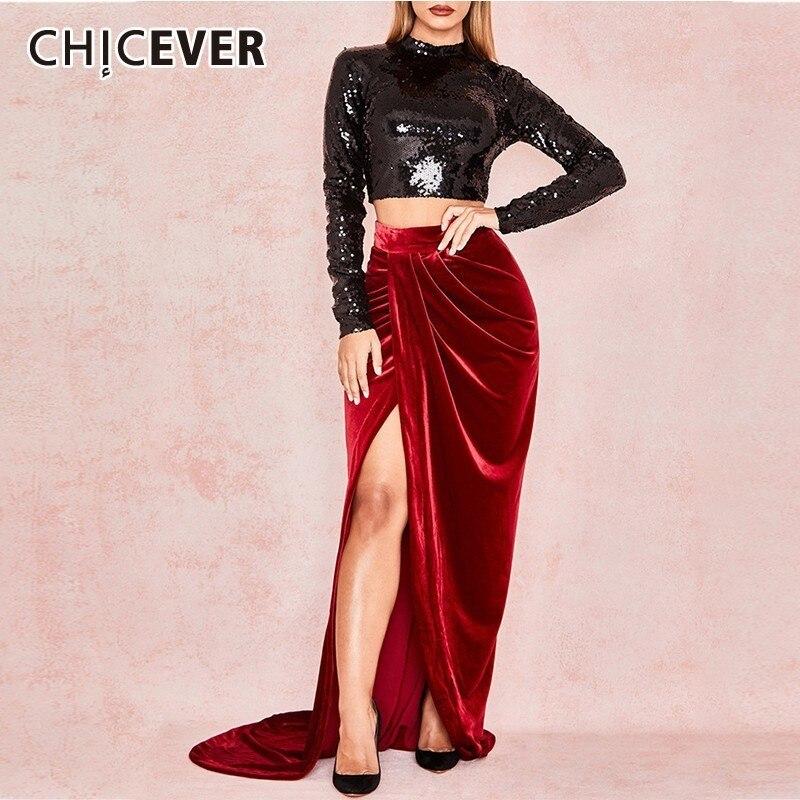 CHICEVER Spring Sets For Women Turtleneck Long Sleeve Sequin Short Length Floor Length Dress Sexy Split