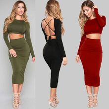 Round Neck Long Sleeve Sexy Backless Solid Color Bandage Dress Female Sensed Navel Short Top Long Dress Silm Two-piece Suit sexy style round neck long sleeve solid color backless women s dress